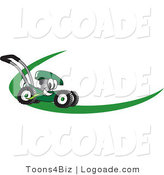 Logo of a Smiling Green Lawn Mower Mascot Cartoon Character on a Logo or Nametag with a Green Dash by Toons4Biz