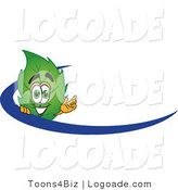 Logo of a Smiling Leaf Mascot Cartoon Character Logo with a Blue Dash by Toons4Biz