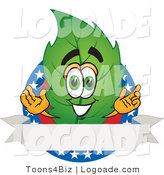 Logo of a Smiling Leaf Mascot Cartoon Character with Stars and a Blank Label by Toons4Biz