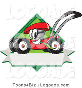 Logo of a Smiling Outgoing Red Lawn Mower Mascot Cartoon Character Chewing Grass on a Blank Ribbon Label by Toons4Biz
