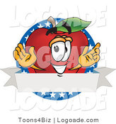 Logo of a Smiling Patriotic Red Apple Character Mascot Logo with Stars by Toons4Biz