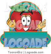 Logo of a Smiling Red Apple Character Mascot Label by Toons4Biz