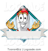 Logo of a Smiling Rocket Mascot Cartoon Character with a Blank Label by Toons4Biz