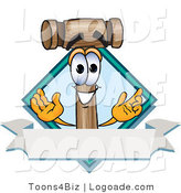 Logo of a Smiling Wooden Mallet Mascot Cartoon Character with a Blank Label by Toons4Biz