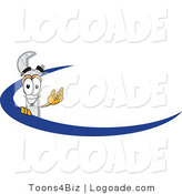 Logo of a Smiling Wrench Mascot Cartoon Character Logo with a Blue Dash by Toons4Biz