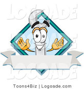 Logo of a Smiling Wrench Mascot Cartoon Character with a Blank White Label and Blue Diamond by Toons4Biz
