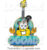 Logo of a Smiling Yellow and Black Guitar Mascot Cartoon Character by Toons4Biz