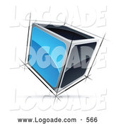 Logo of a Solid Cube with Blue and Black Sides by Beboy