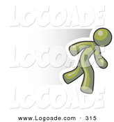 Logo of a Speedy Olive Green Business Man Running Quick by Leo Blanchette