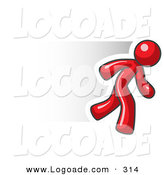 Logo of a Speedy Red Business Man Running Quickly to the Right by Leo Blanchette