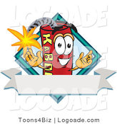 Logo of a Stick of Dynamite Mascot Cartoon Character with a Blank Ribbon Label by Toons4Biz