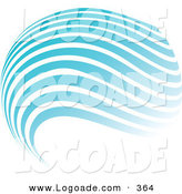Logo of a Stock Design of a Globe of Blue and White Horizontal Waves Above a Space for a Company Name and Information by KJ Pargeter