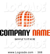 Logo of a Stock Logo of an Orange Orb Made of White Lines and Orange Squares Above a Space for a Company Name and Information by KJ Pargeter
