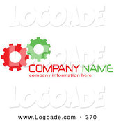Logo of a Stock Logo of Green and Red Working Cogs to the Left of Space for a Company Name and Information on White by KJ Pargeter