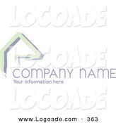 Logo of a Stock Logo of Green Lines Resembling a Home or Roof, Above Space for a Company Name and Information over White by KJ Pargeter