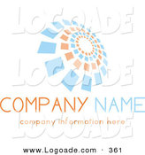 Logo of a Stock Logo of Orange and Blue Spiraling Squares Above Space for a Company Name and Information over White by KJ Pargeter