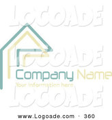 Logo of a Stock Logo of Teal and Beige Lines Resembling a Home or Roof, Above Space for a Company Name and Information on White by KJ Pargeter