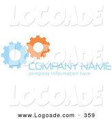 Logo of a Stock Logo of Two Blue and Orange Working Cogs to the Left of Space for a Company Name and Information by KJ Pargeter