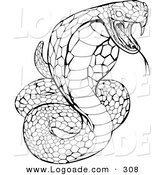 Logo of a Striking Venomous Cobra Snake About to Attack by AtStockIllustration