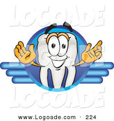 Logo of a Tooth Mascot Cartoon Character on a Blue Logo Design by Toons4Biz
