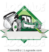Logo of a Toothy Green Lawn Mower Mascot Cartoon Character on a Blank Label by Toons4Biz