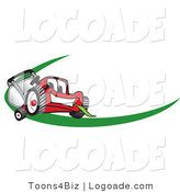 Logo of a Toothy Red Lawn Mower Mascot Cartoon Character Facing Front on a Logo or Nametag with a Green Dash by Toons4Biz