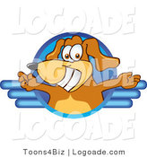 Logo of a Welcoming Brown Dog and Blue Circle by Toons4Biz
