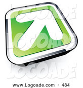 August 12nd, 2013: Logo of a White Arrow on a 3d Green and Chrome Button by Beboy