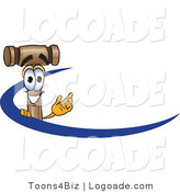 Logo of a Wood Mallet Mascot Cartoon Character Logo with a Blue Swoop by Toons4Biz