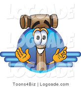 Logo of a Wood Mallet Mascot Cartoon Character Logo with Blue Wing Design by Toons4Biz