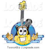 Logo of a Yellow and Black Guitar Mascot Cartoon Character Logo with a Circle and Blue Lines by Toons4Biz