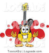 Logo of a Yellow and Black Guitar Mascot Cartoon Character Logo with a Red Paint Splatter Background by Toons4Biz