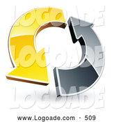 Logo of a Yellow and Chrome Arrow Circling Each Other by Beboy