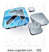 Logo of an Arrow on a 3d Blue Box near Orange Squares by Beboy