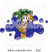 Logo of an Outgoing Palm Tree Mascot Cartoon Character Pointing Upwards and Standing in Front of a Blue Paint Splatter on a Travel Business Logo by Toons4Biz