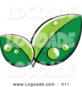 Logo of Lush Green Leaves with Dew, with Space for a Business Name and Company Slogan Below by Beboy