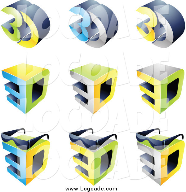 Clipart of 3d Cubes and Glasses Entertainment Logos