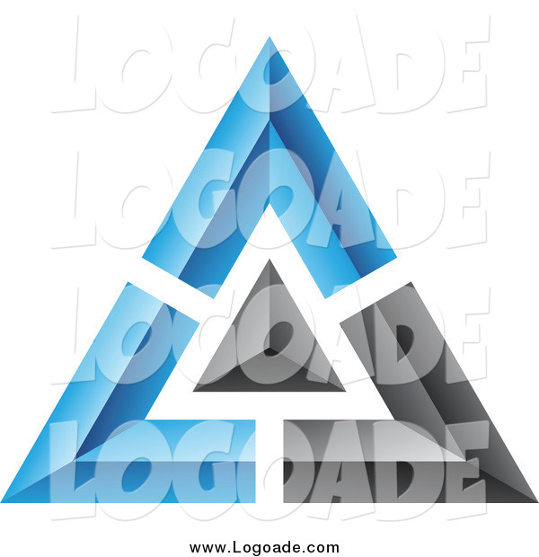 Clipart Of A 3d Blue And Black Pyramid Logo By Cidepix 1681