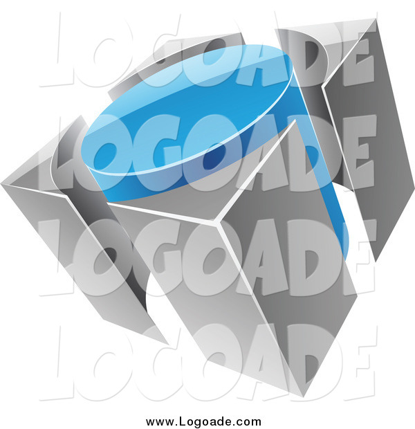 Clipart of a 3d Blue and Gray Circle and Guards Logo