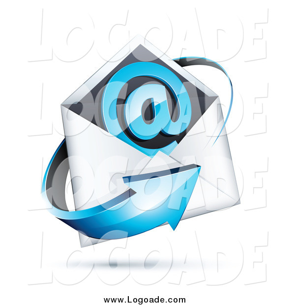 Clipart of a 3d Blue Arrow Around an Envelope and at Symbol