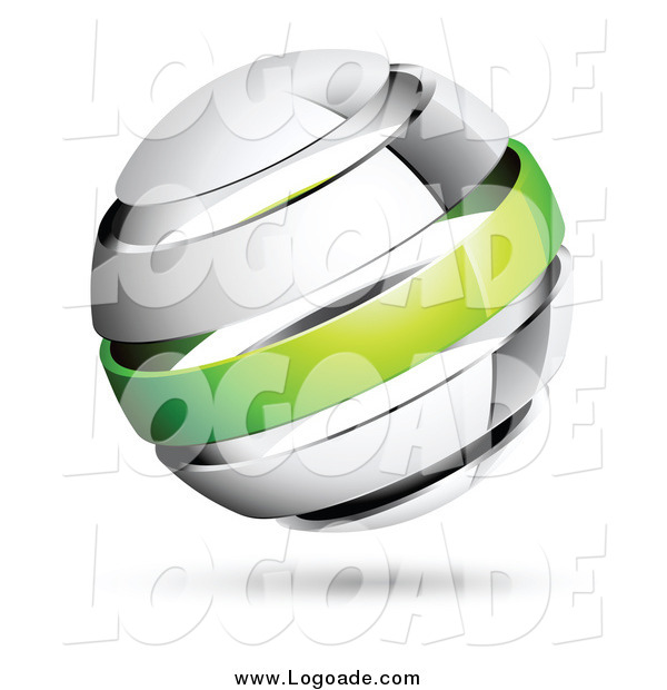 Clipart of a 3d Chrome and Green Band Globe Logo