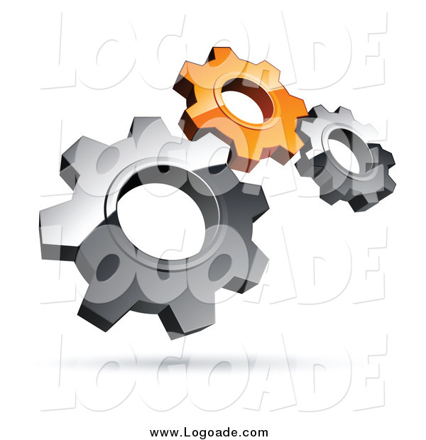 Clipart of a 3d Floating Silver and Orange Gears Teamwork Logo