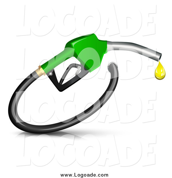Clipart of a 3d Green Fuel Nozzle with a Droplet
