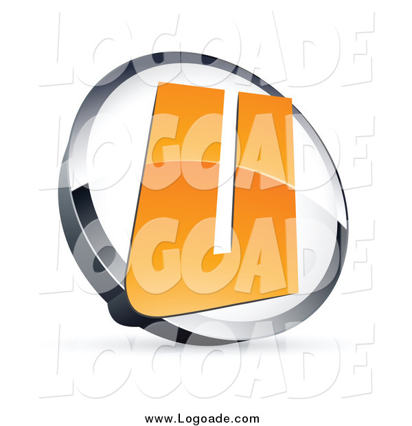 Clipart of a 3d Orange Letter U in a Circle