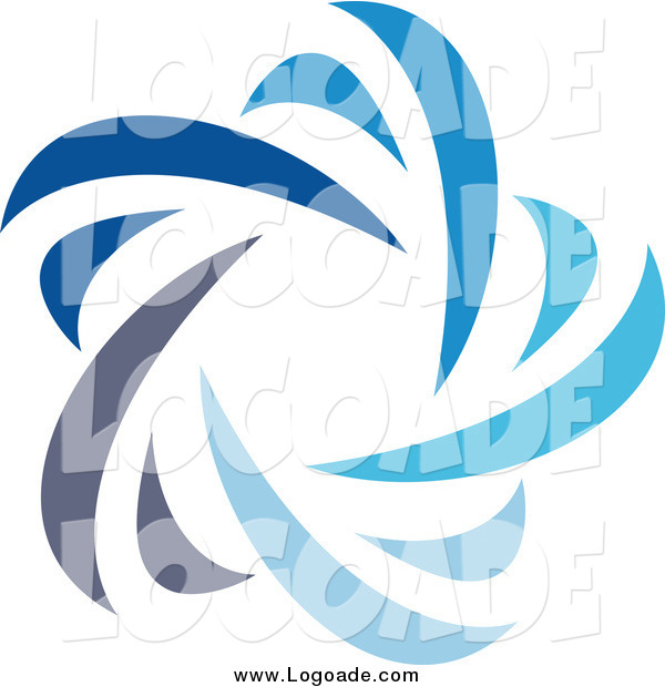 Clipart of a Abstract Blue Star Logo