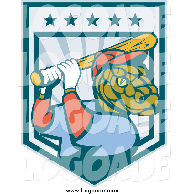 Clipart of a Batting Baseball Snake Logo
