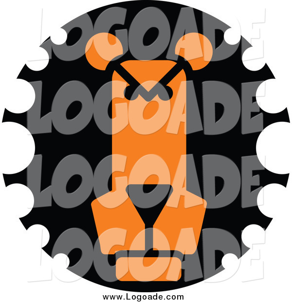 Clipart of a Black and Orange Lion Face Logo