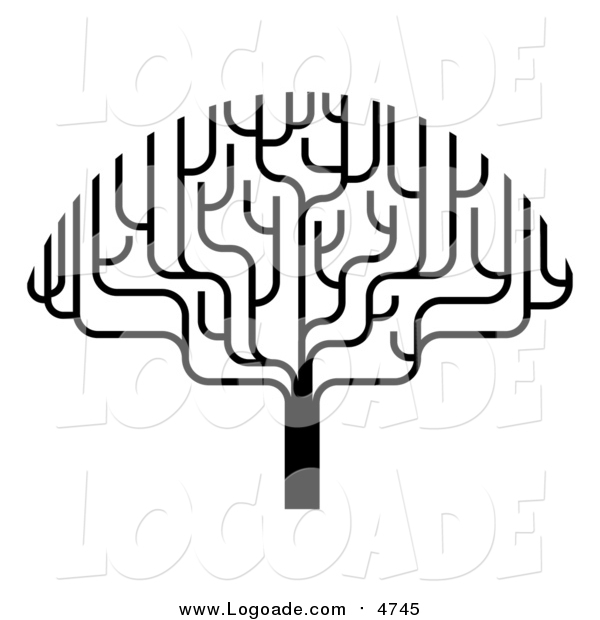 Clipart of a Black and White Bare Tree