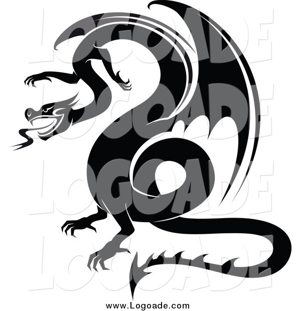 Clipart of a Black and White Dragon Logo