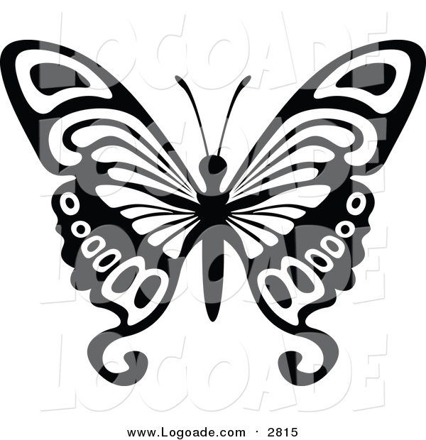 Clipart of a Black and White Flying Butterfly Logo